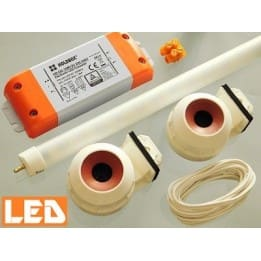 Zestaw LED świetlówka LED T5 PET 5W (36cm) + zasilacz + oprawki hermetyczne