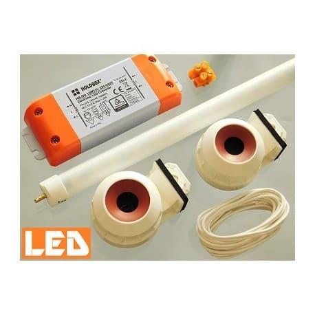 Zestaw LED świetlówka LED T5 PET 9W (60cm) + zasilacz + oprawki hermetyczne