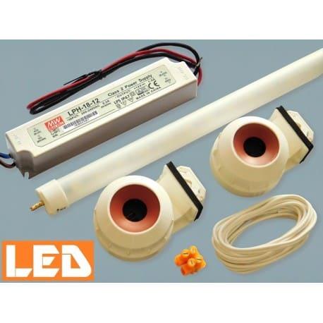 Zestaw LED świetlówka LED T5 PET 9W (45cm) + zasilacz IP67+ oprawki hermetyczne
