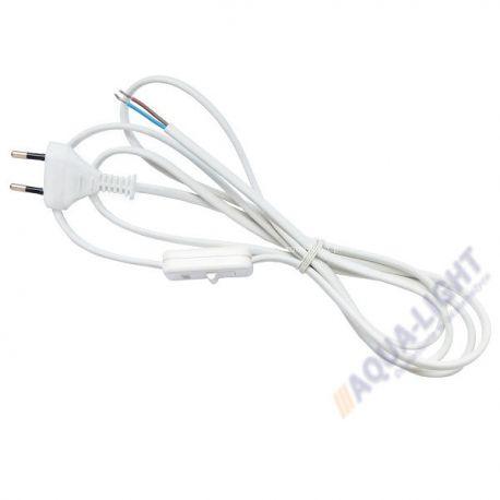 Przewód z wtyczką i wyłącznikiem - biały | sklep AQUA-LIGHT.pl
