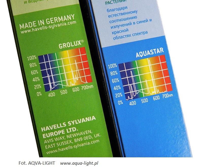 Porównanie - widmo świetlówek roślinnych Grolux 8500K i Aquastar 10000K - do akwarium