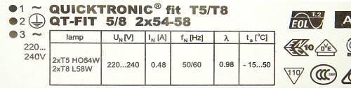 Statecznik elektroniczny QT-FIT 2x54-58W - sklep AQUA-LIGHT