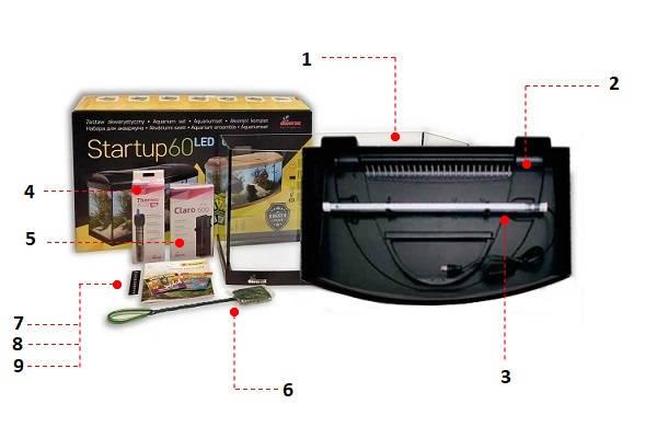 Zestaw StartUp akwarium profilowane 54 litry 60cm