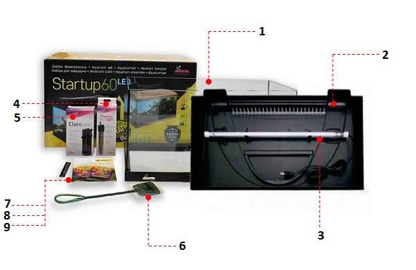 Zestaw StartUp akwarium proste 54 litry 60cm