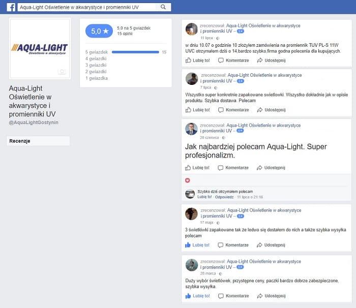 Opinie i recenzje sklepu internetowego aqua-light.pl na koncie facebook
