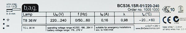 Statecznik elektroniczny BAG BCS36.1SR-01 | sklep AQUA-LIGHT.pl