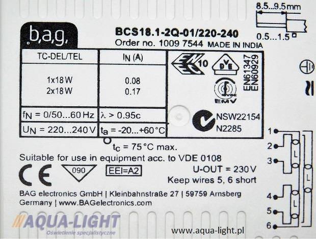 Statecznik elektroniczyc BCS18.1-2Q-01 firmy BAG | sklep AQUA-LIGHT.pl