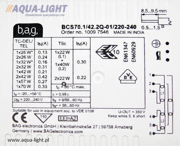 Statecznik elektroniczny BCS70.1/42.2Q-01 firmy BAG | sklep AQUA-LIGHT.pl