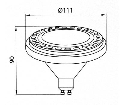 Żarówka AR111 GU10 Brilum- wymiary | sklep AQUA-LIGHT.pl