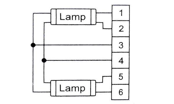 Statecznik elektroniczny T5 2x14-35W - schemat podłączenia