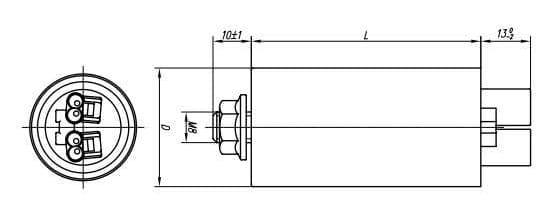 Wymiary kondensatora MKSP-025P Miflex | sklep AQUA-LIGHT