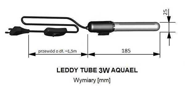Wymiary AQUAEL LEDDY TUBE 3W - wymiennych modułów | sklep AQUA-LIGHT.pl