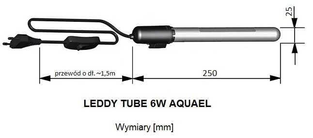 Wymiary AQUAEL LEDDY TUBE 6W - wymiennych modułów | sklep AQUA-LIGHT.pl