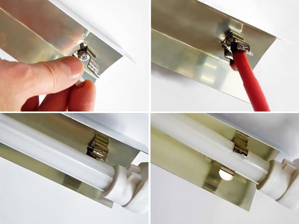 Uchwyt metalowy T5 - montaż w odbłyśniku aluminiowym | sklep AQUA-LIGHT.pl