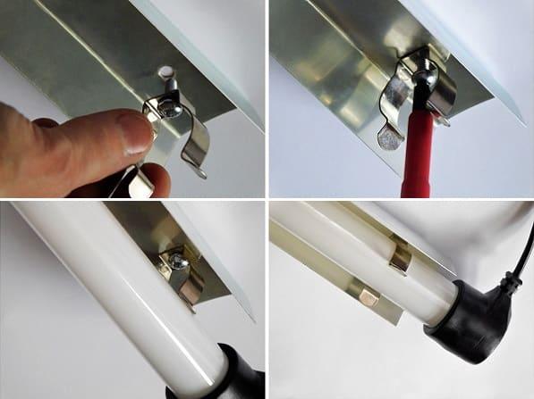 Uchwyt metalowy T8 - montaż w odbłyśniku aluminiowym | sklep AQUA-LIGHT.pl
