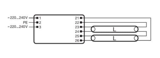 QUICKTRONIC FIT 5/8 2x18-39W schemat połączeń