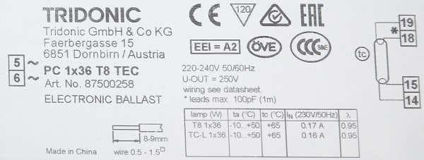 Statecznik PC 1x36 T8 TEC TRIDONIC - tabliczka |sklep AQUA-LIGHT.pl