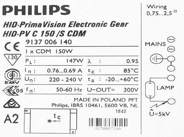 Statecznik Philips HID-PV C 150/S CDM - tbliczka znamionowa | sklep AQUA-LIGHT.pl