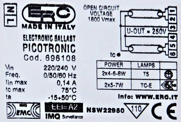 Statecznik elektroniczny PICOTRONIC - tabliczka znamionowa | sklep AQUA-LIGHT.pl