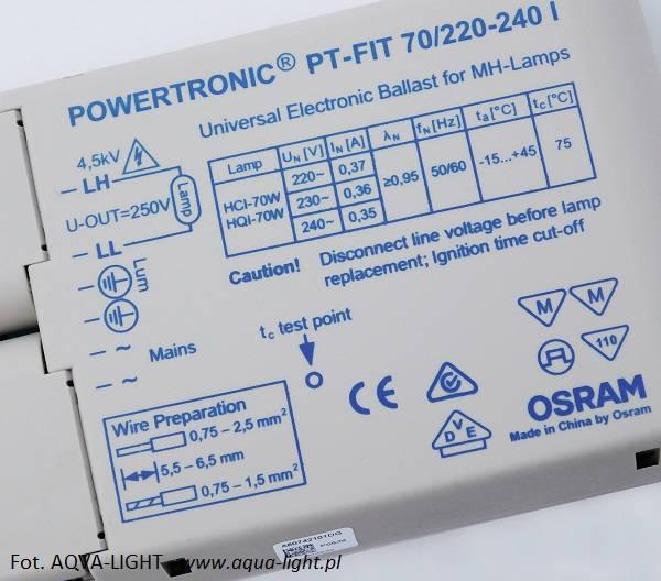 Statecznik elektroniczny POWERTRONIC PT-FIT 70/220-240 I | sklep AQUA-LIGHT.pl
