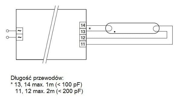 PC 1x36 T8 TEC TRIDONIC schemat połączeń