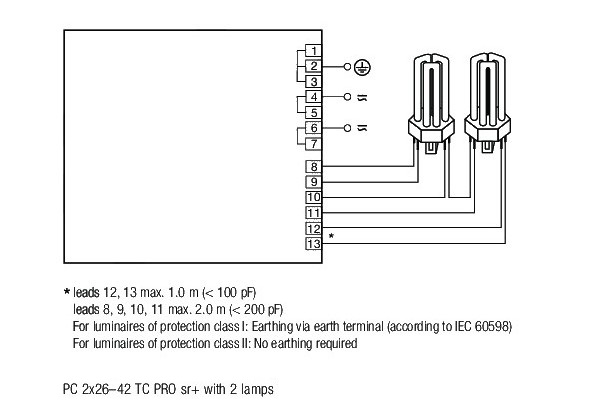 Statecznik Tridonic PC 2x26-42 TC PRO sr+ - schemat | sklep AQUA-LIGHT.pl