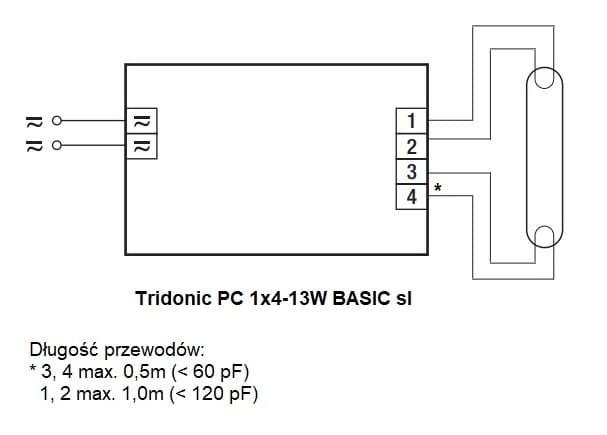 Tridonic PC Basic sl 1x4-13W - schemat połączeń