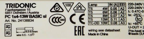 Tridonic PC 1x4-13W Basic sl - statecznik elektroniczny do świetlówek T5 - tabliczka znamionowa