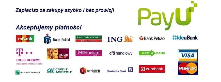 Za zakupy można zapłacić szybko poprzez PayU, przelewem lub gotówką czy kartą przy odbiorze. Sprawdź ofertę naszego sklepu!